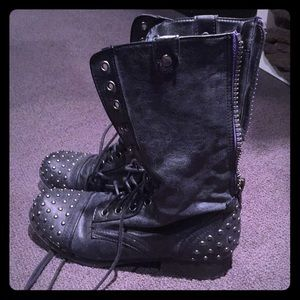 Madden girl studded punk combat boots 6.5 black